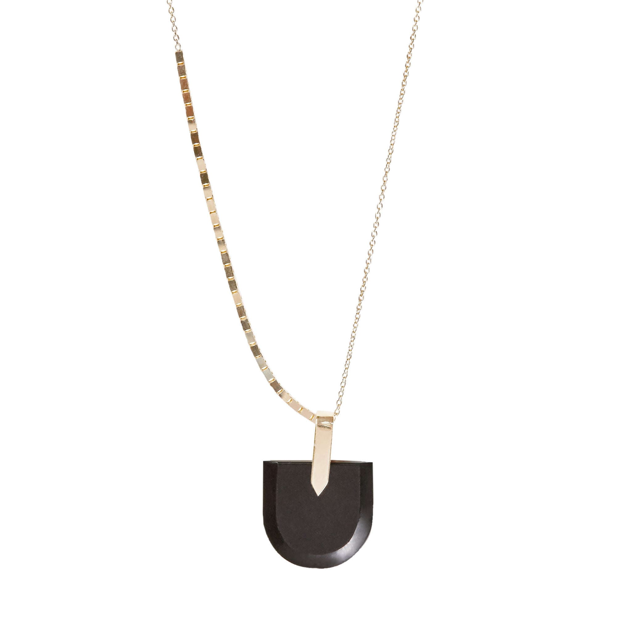 Halo Necklace + Brevity Pendant Black Jade Large