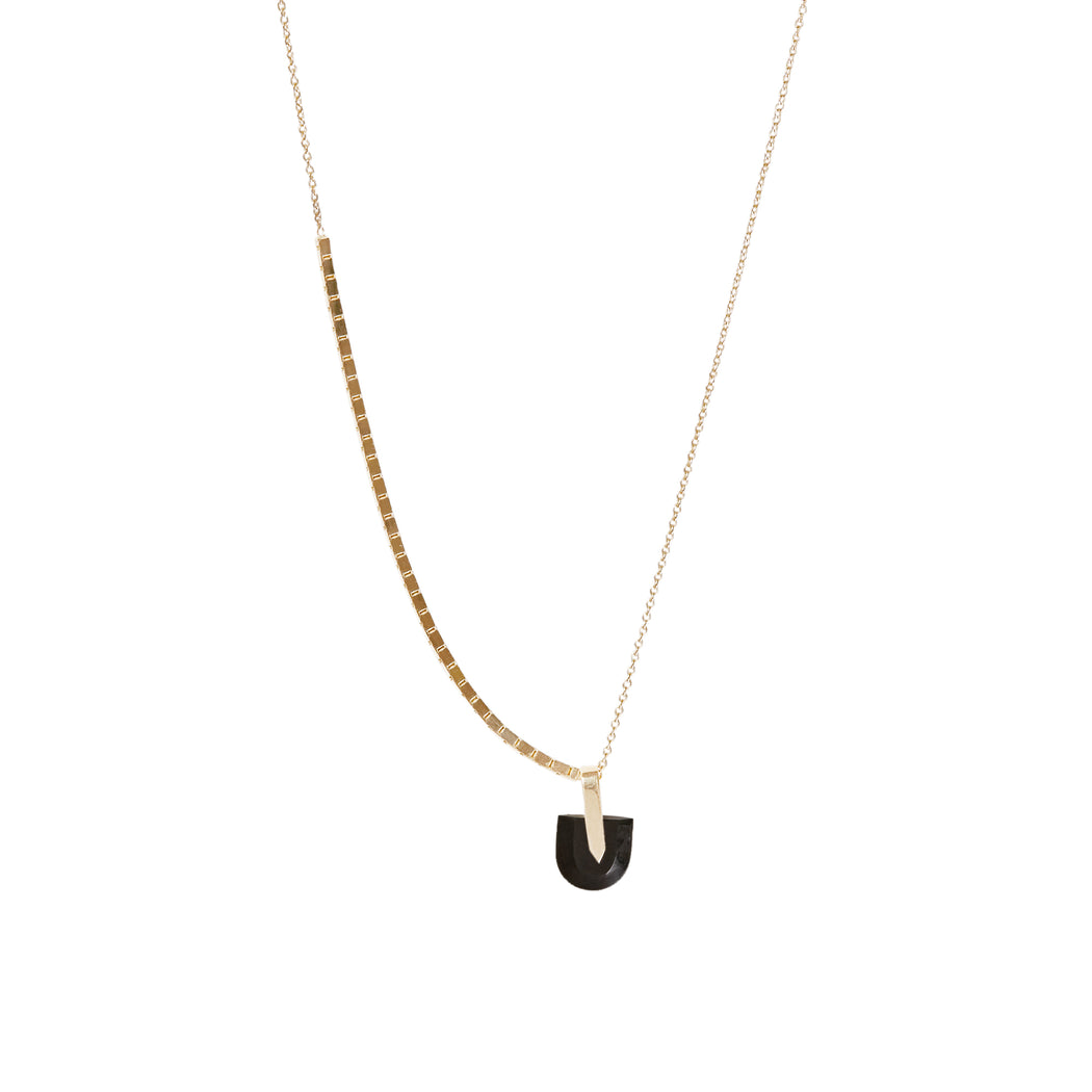 BLISS LAU HALO CHAIN BREVITY PENDANT BLACK JADE YELLOW GOLD NECKLACE
