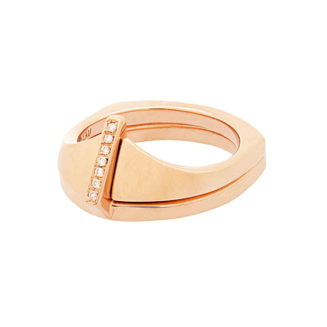 BLISS LAU ECLIPSE RING SET ROSE GOLD NATURAL LAB GROWN WHITE DIAMONDS