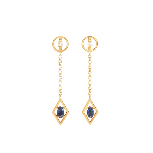 BLISS LAU HARMONIOUS EARRINGS YELLOW GOLD WHITE DIAMOND BLUE SAPPHIRE CHAIN