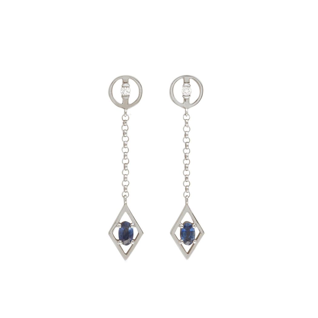 BLISS LAU HARMONIOUS EARRINGS WHITE GOLD WHITE DIAMOND BLUE SAPPHIRE CHAIN
