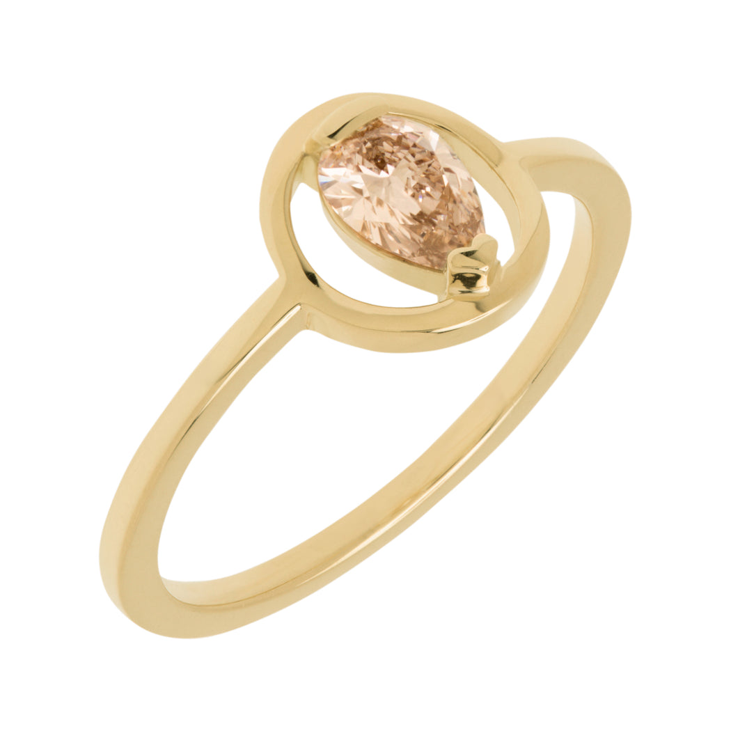 BLISS LAU HARMONIOUS ENGAGEMENT RING YELLOW GOLD CHAMPAGNE DIAMOND