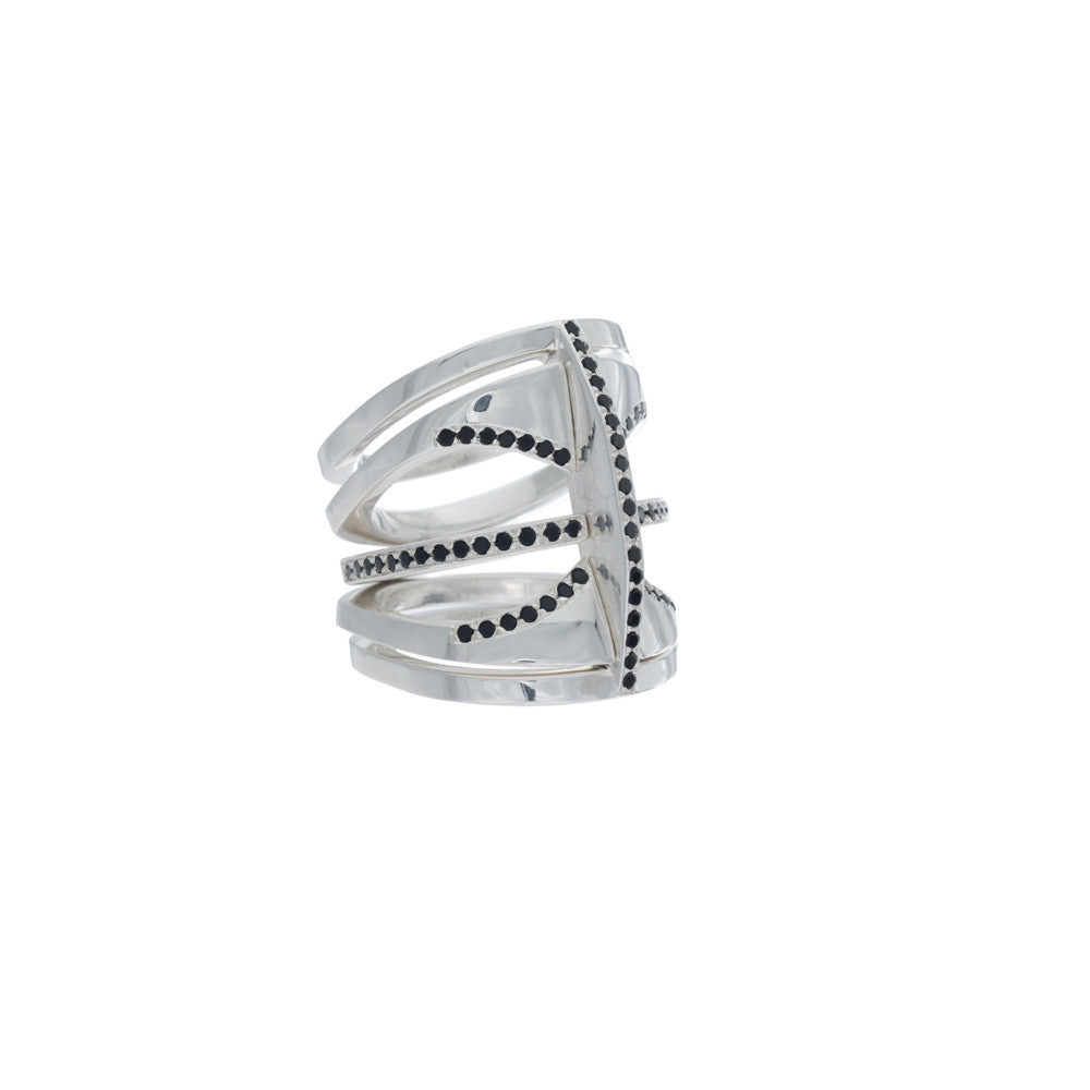 Kaleidoscope Ring Sterling Silver + White Diamond Pave