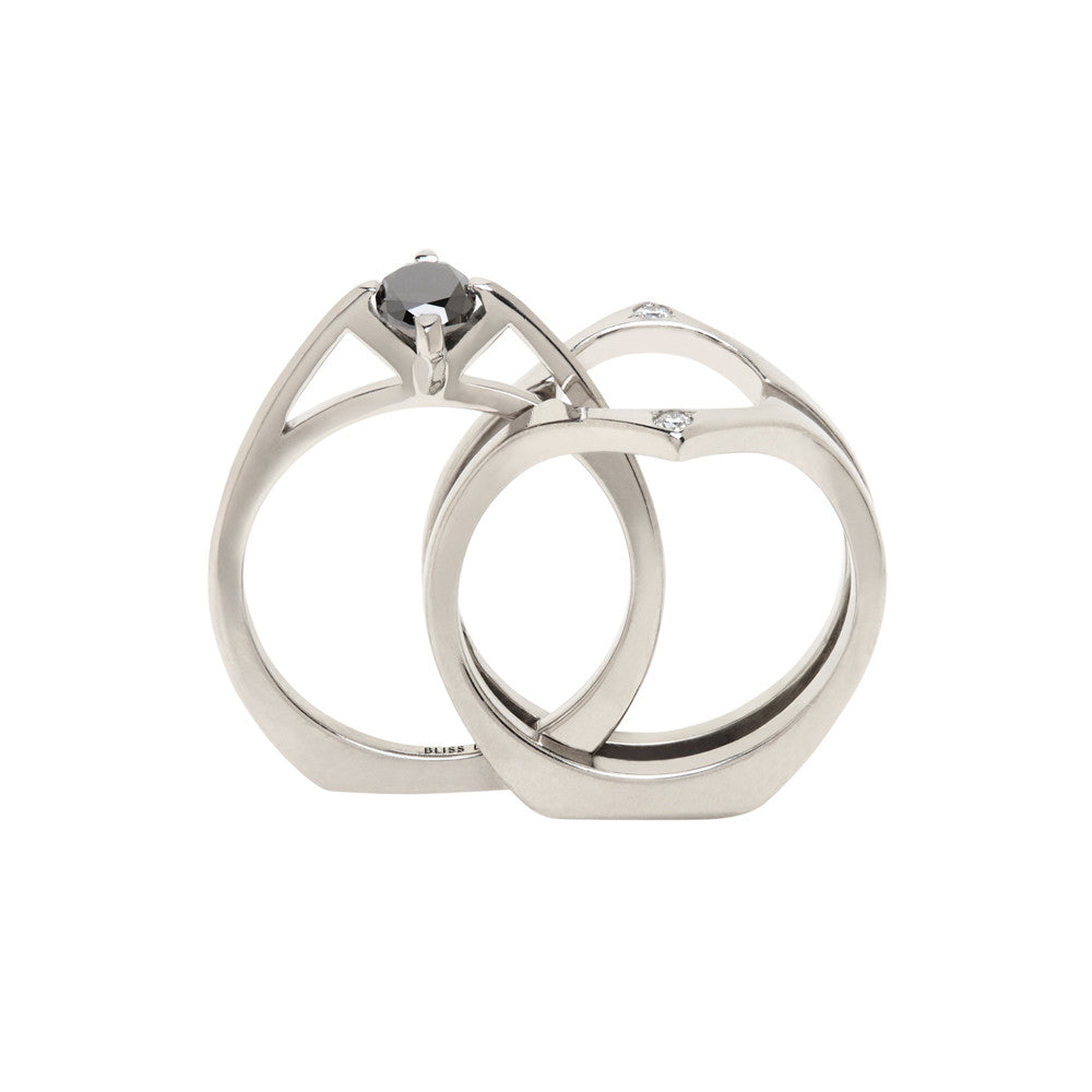 Minimalist Arc + Osculant 18K Yellow Gold Ring Set