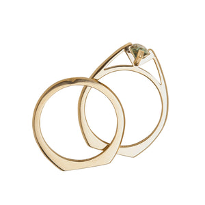 Minimalist Arc Ring + Band 18K Yellow Gold Set
