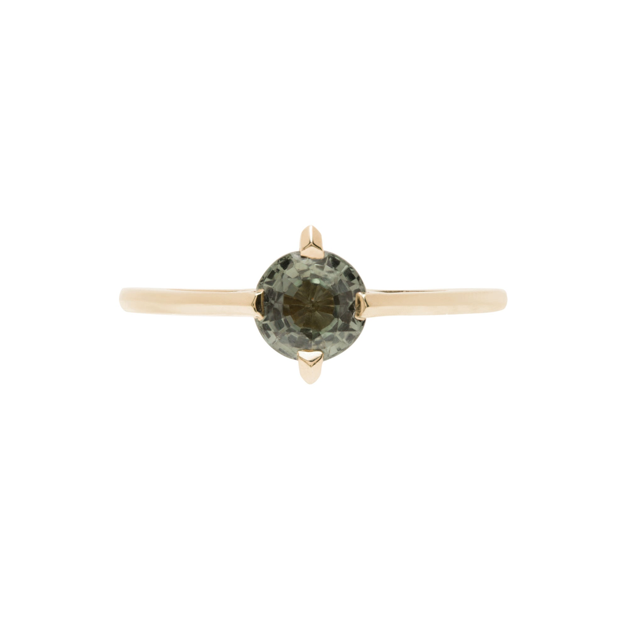 Minimalist Arc + Oblique X Enclose Ring Set Round Green Sapphire