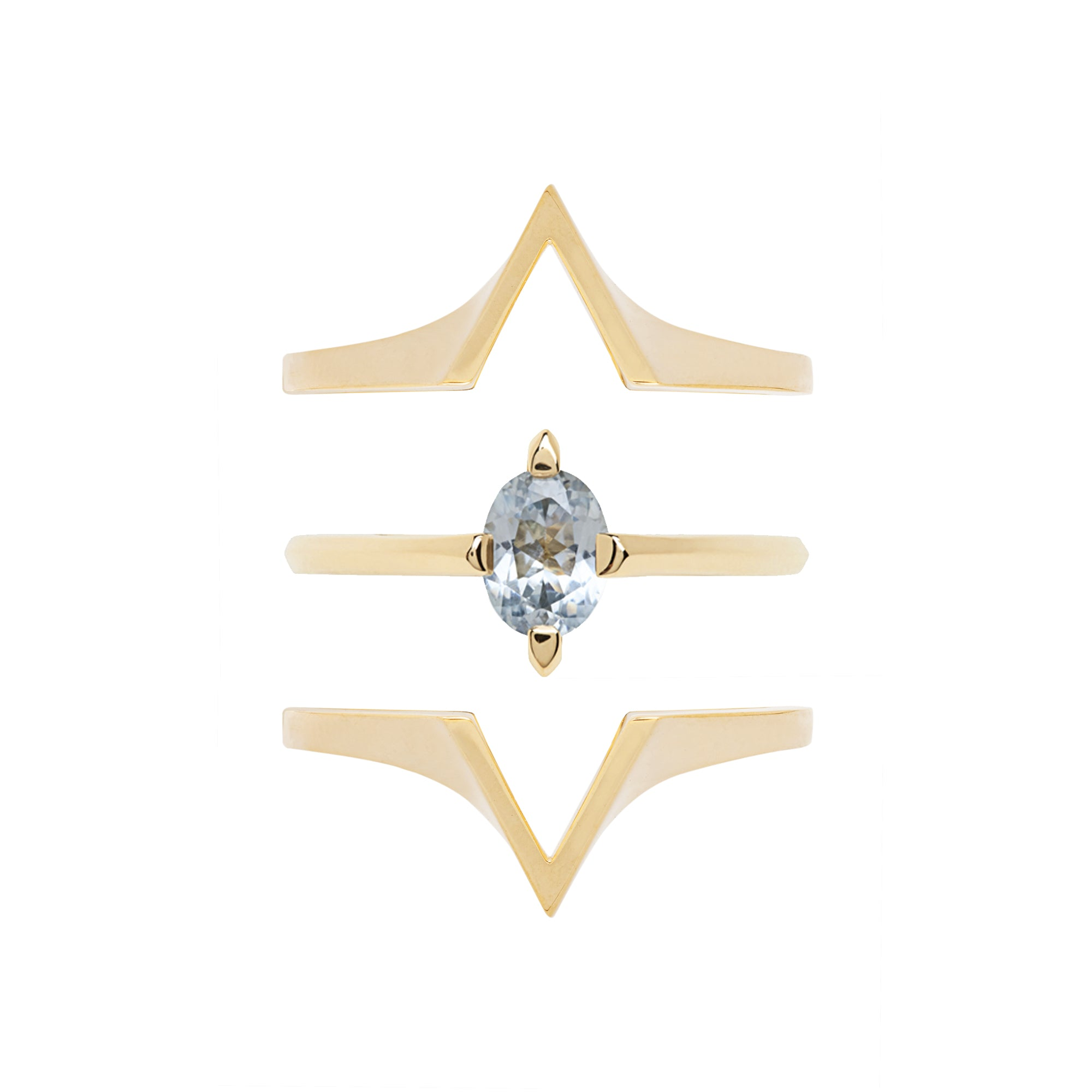 Minimalist Arc + Spire Enclose Ring Set