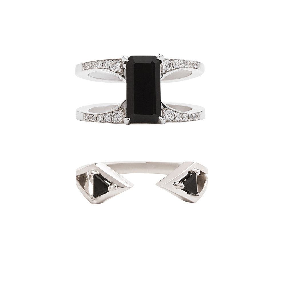 Mirage + Reflection Ring Set Black Spinel