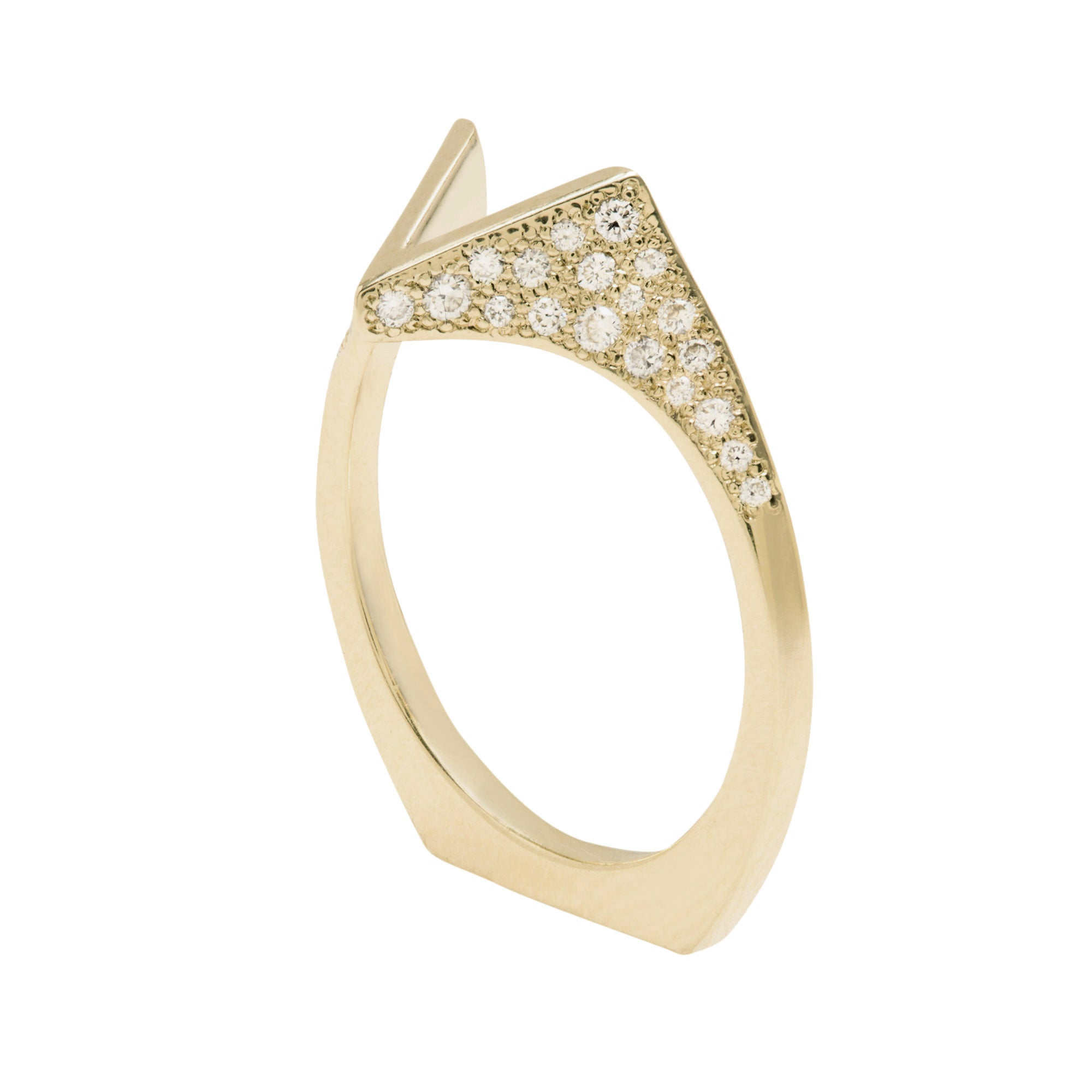 Spire Pave Band 18K Yellow Gold