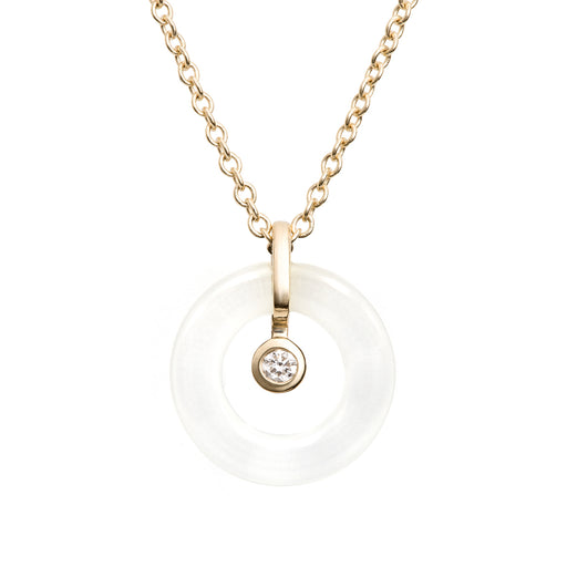 BLISS LAU CONSCIOUS PENDANT CRYSTAL QUARTZ YELLOW GOLD CHAIN LAB GROWN WHITE DIAMOND