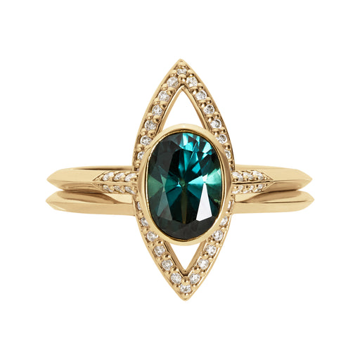 Bliss Lau Acoustic Marquise Outline Ring Set Yellow Gold Blue Green Sapphire White Natural Lab Grown Diamonds