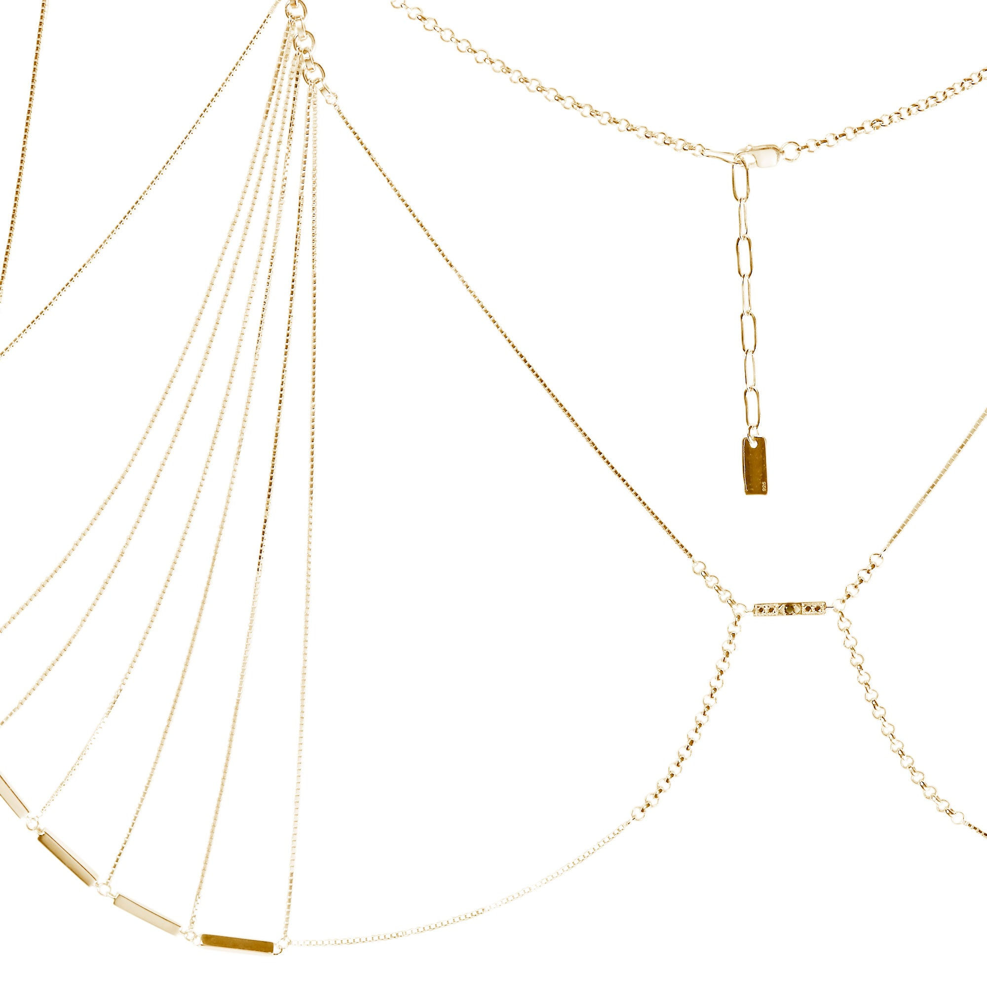 Zelda Bra Yellow Gold Vermeil + White Diamonds