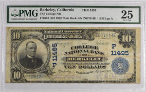 1902 Plain Back National Bank Note VF25 Fr. 632 Charter# 11495 PMG $10