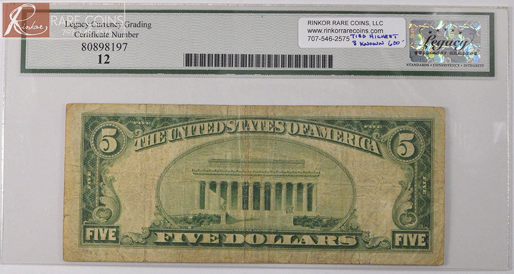 1929 Type 1 National Bank Note F12 Fr. 1800-1 Charter# 7291 LCG $5