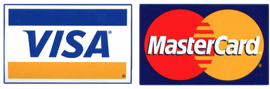 We accept Visa, Mastercard, and American Express