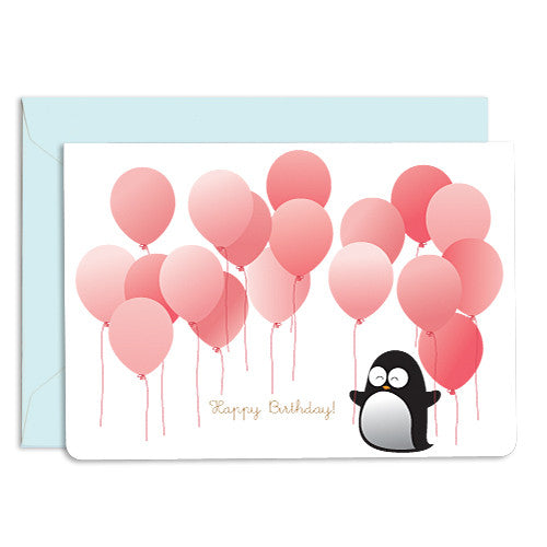 UFF birthday penguin balloon card