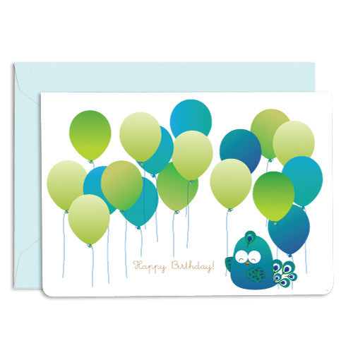 UFF peacock balloon card