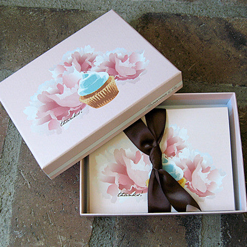 Dolce cupcake boxed thank you notes ribbon