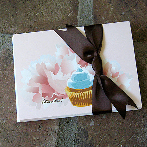 Dolce cupcake thank you notes ribbon