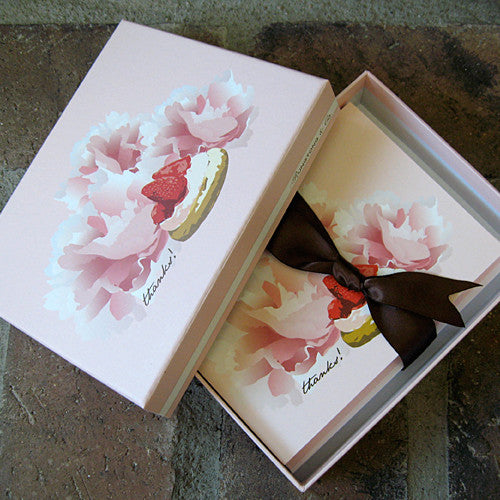 Dolce thank you boxed notes strawberry ribbon