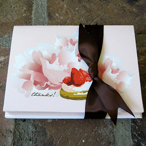 Dolce strawberry boxed ribbon notes