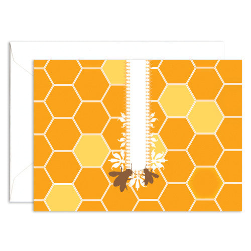 Signature Line Boxed Honey Bees Notecards in Honey