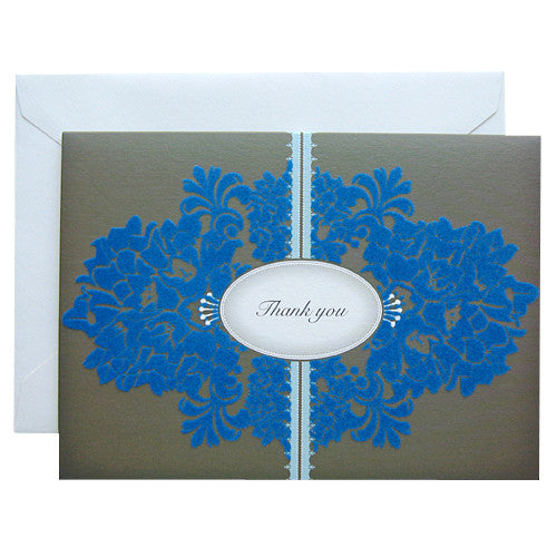 Grey flocking thank you note card