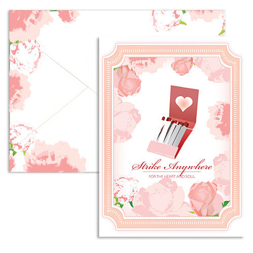 Valentine strike matches note card