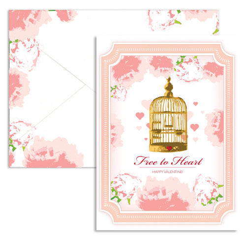 Valentine love cage note card