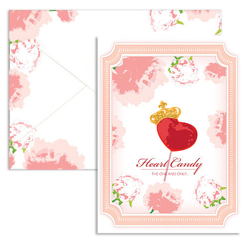 Valentine heart candy note card