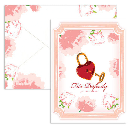 Valentine lock key note card
