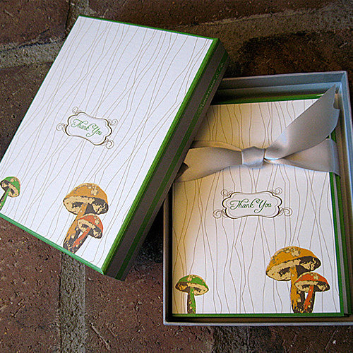 Mushroom boxed notes with ribbon