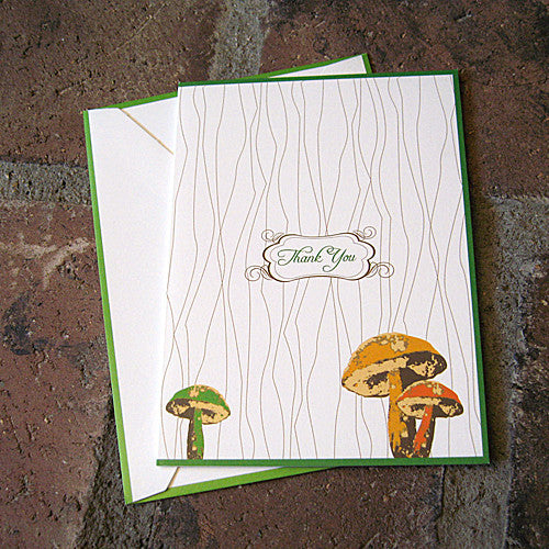 Mushroom thank you card