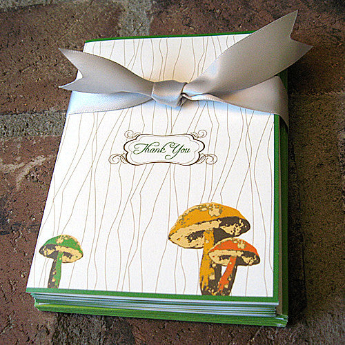 Mushroom note card with ribbon