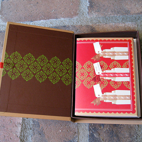 Christmas card box set open