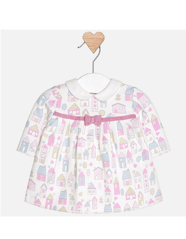 Mayoral Fleece Dress with house pattern
