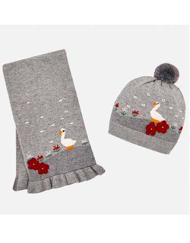 Mayoral Geese Knitted Beanie Hat and Scarf Set