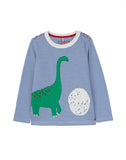 Joules Chomp T-Shirt Blue Stripe Dino