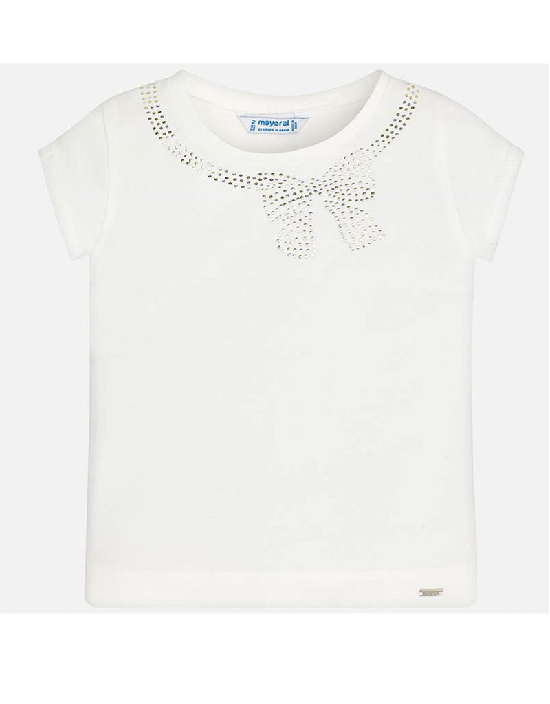 Mayoral White T-Shirt With Bead and Twinkle Bow Design