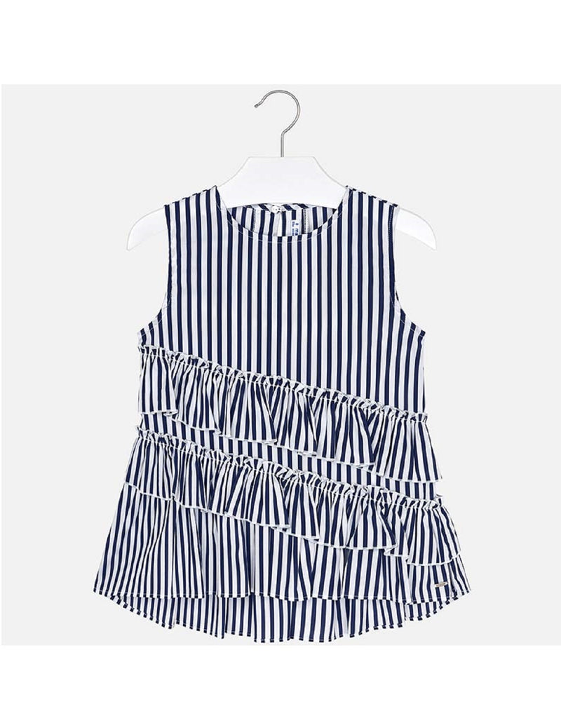Mayoral Ruffle Blouse Navy Stripe