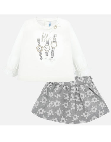 Mayoral Jaquard Flowery Skirt Set