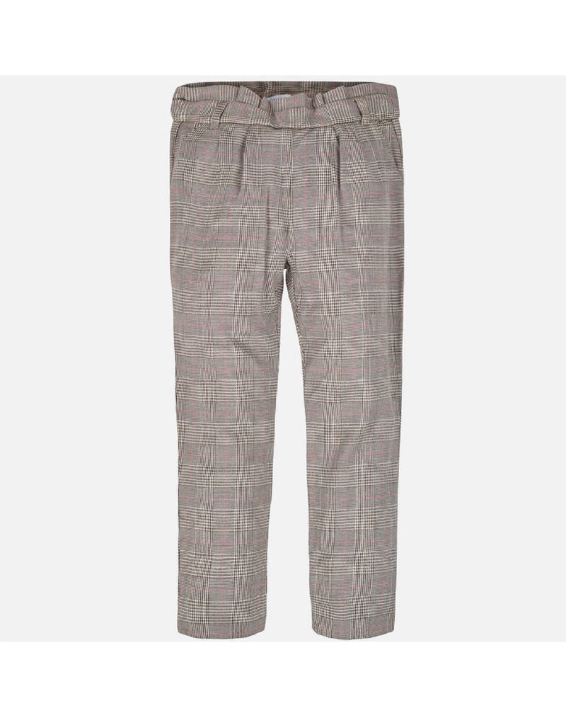 Mayoral Brown Check Long Trouser