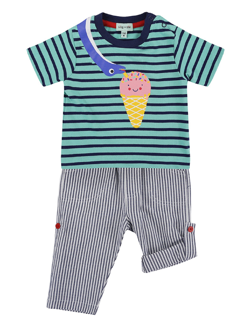 Lilly & Sid Dino Stripe Trouser Set