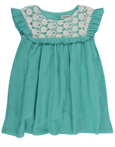 Lilly & Sid Mint Lace Trim Dress
