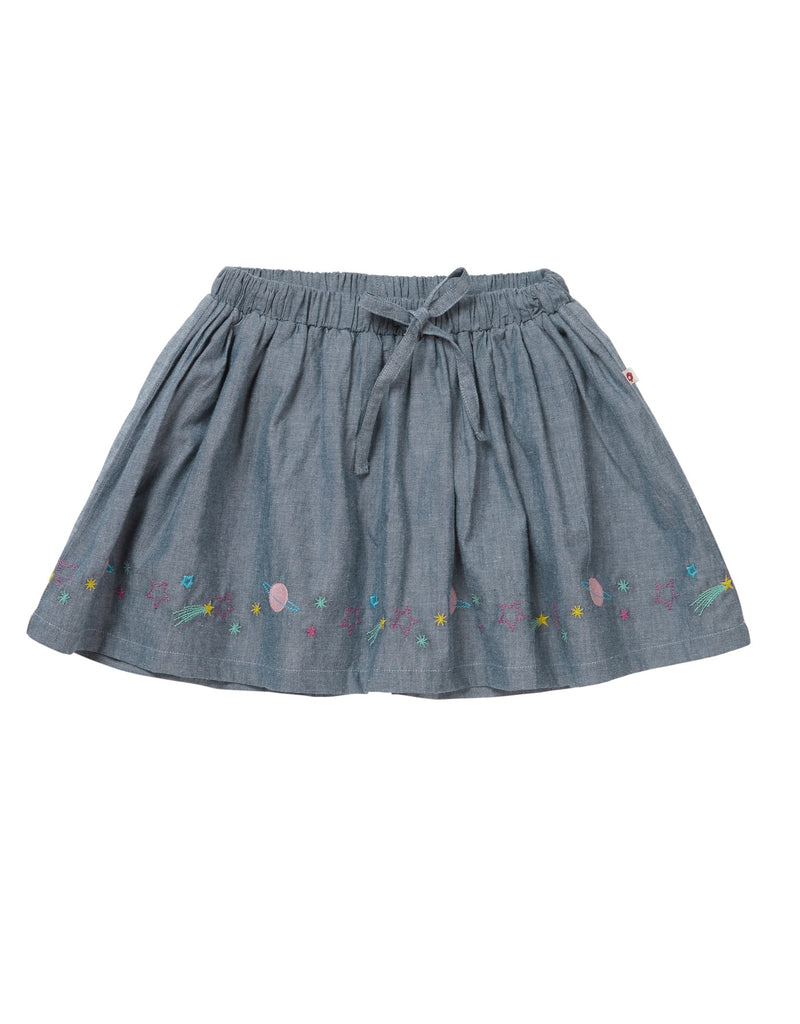 Piccalilly Space Embroidered Chambray Skirt