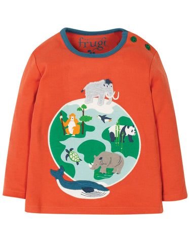 Frugi Button Applique Top- Paprika Globe