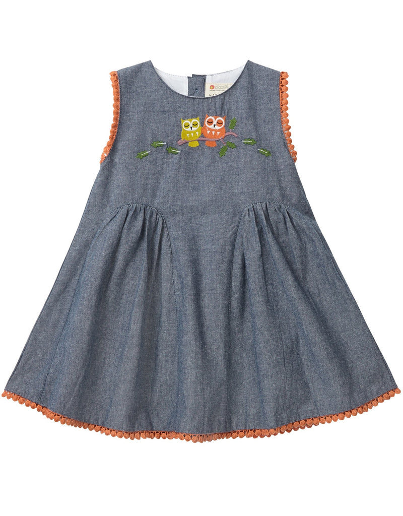 Piccalilly Owl Chambray Dress