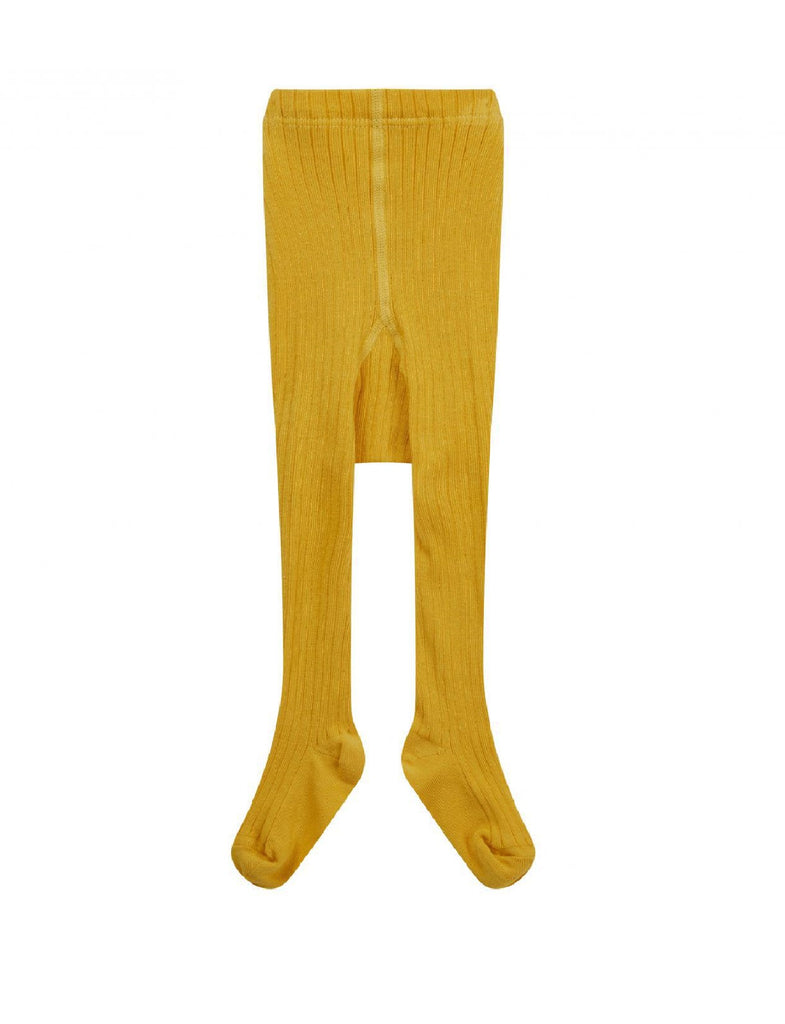 Piccalilly Girls Mustard Ribbed Tights