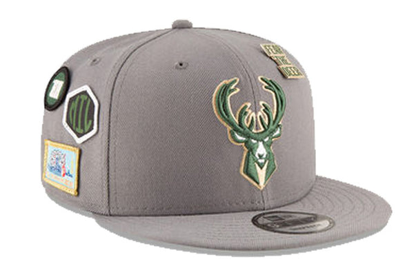 Milwaukee Bucks NBA Grey Draft 9FIFTY Snapback