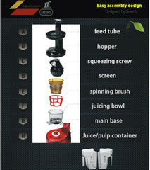 GREENIS, JUICE ALL MULTI VERT JUICER 9008 Smoothie Maker, Nut Grinder, SLOW JUICER,